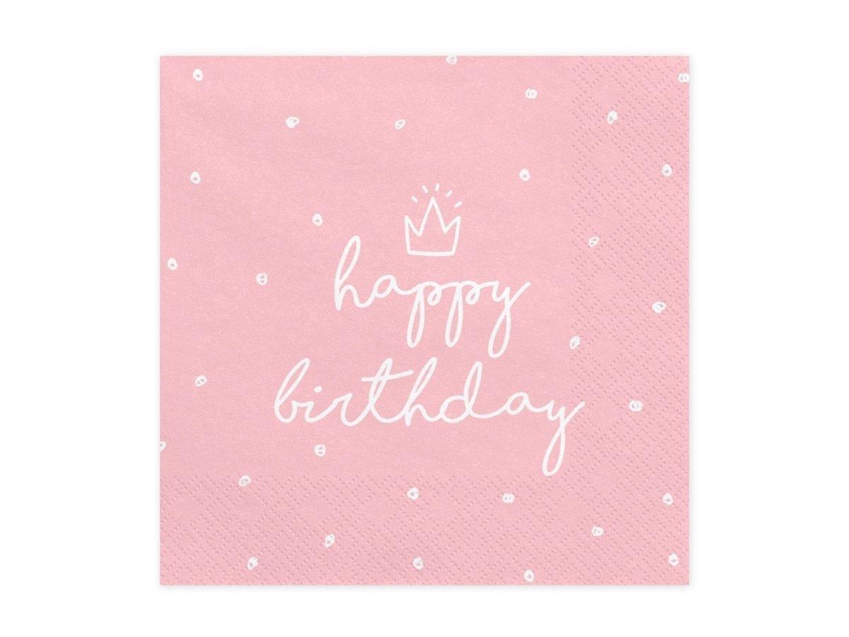 Serwetki Happy Birthday różowe - 33 cm - 20 szt.