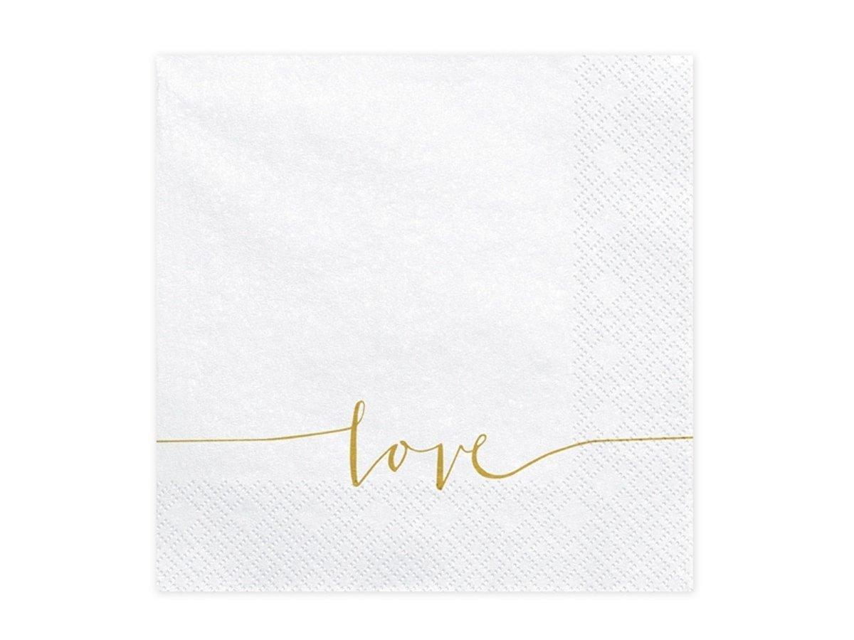 Serwetki białe z napisem Love - 33 cm - 20 szt.
