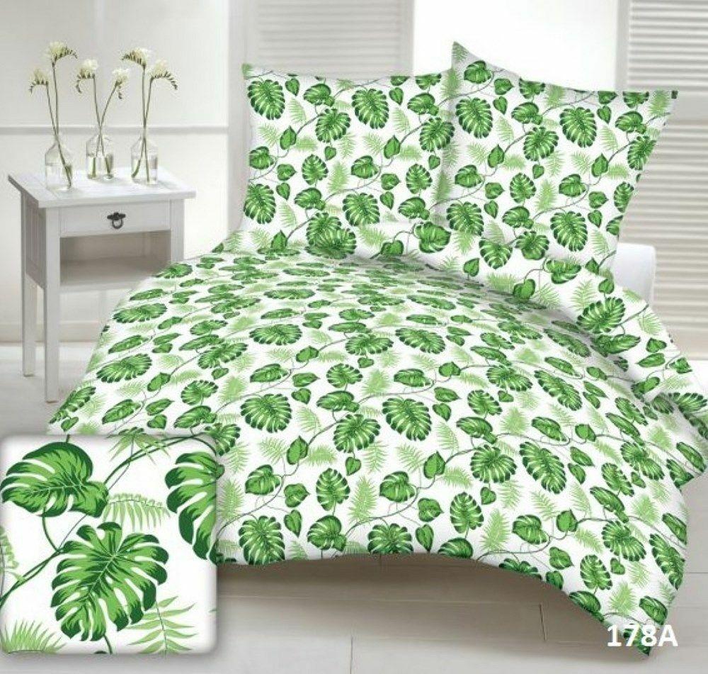 Pościel z kory 160x200 178a biała liście zielone Monstera gałązki palmy na guziki bawełna
