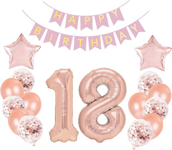Zestaw dekoracji na 18 urodziny różowe złoto 400123