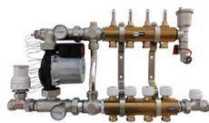 Rozdzielacz z układem mieszającym, przepływomierzami i głowicą termostatyczną - typ RW-MPT 9-obwodowy