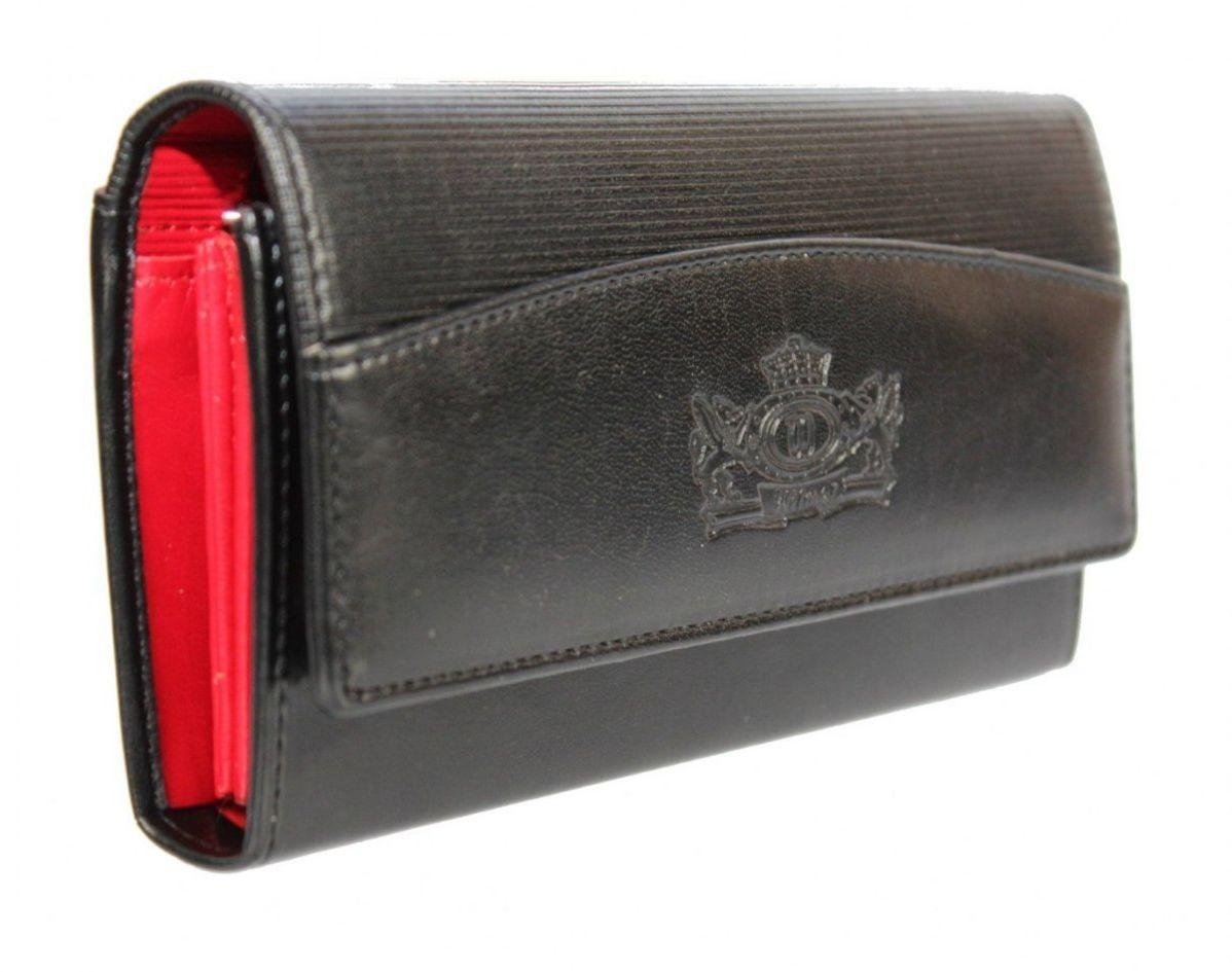Portfel Damski WILMAR (PL) Suwak 16 cm Skóra Włoska Czarny Z Czerwonym