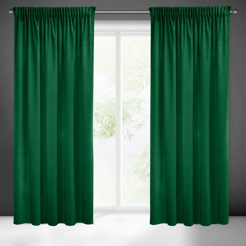 Zasłona 140x270 Sibel zielona ciemna welwetowa gotowa na taśmie Pierre Cardin