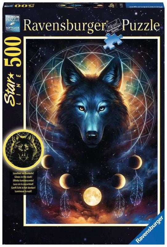 Puzzle 500 elementów Wilk i księżyce