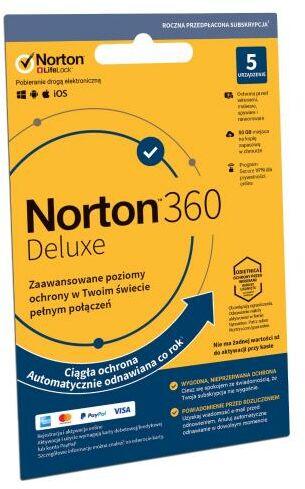 Norton Subskrypcja Norton 360 Deluxe 50GB (5 urządzeń / 1 rok) Dostęp po opłaceniu zakupu