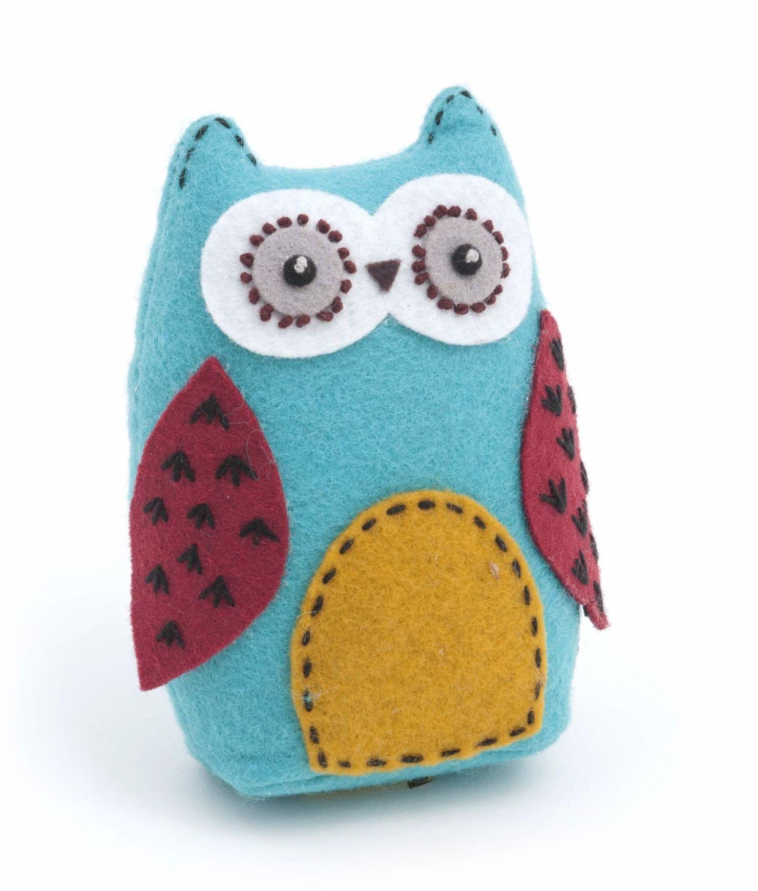 Hobby prezent HOBBYPREZENT sowa szycie poduszka z miękką bawełnianą tkaniną spinka patchworkowa uchwyt sztuka rzemiosło i szycie, wielokolorowa, 12 x 8,5 x 4,5 cm