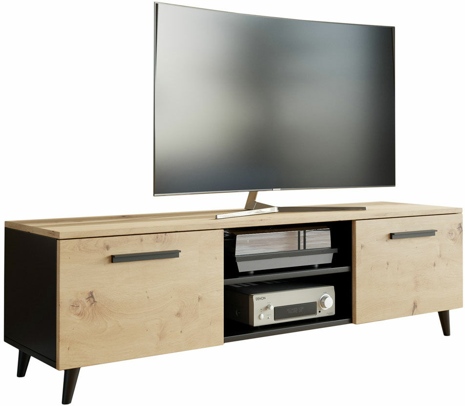 Skandynawska szafka RTV do salonu dąb artisan - Pura 2S