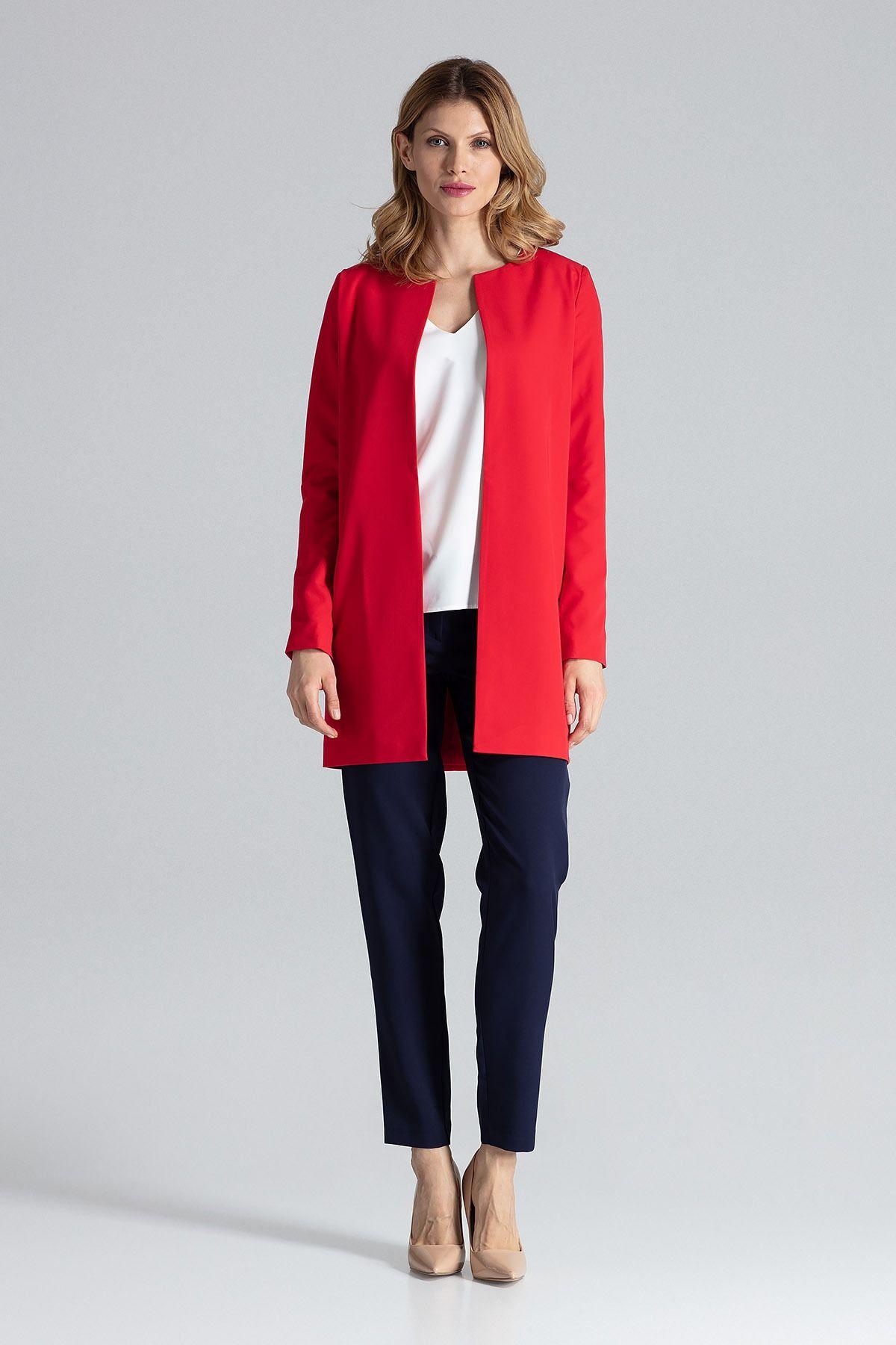 Czerwony pudełkowy kobiecy płaszcz bez zapięcia