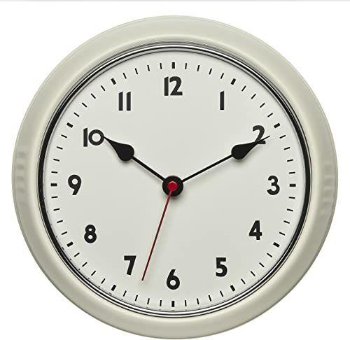 TFA Dostmann Retro radiowy zegar ścienny, 60.3541.09, zegar vintage, analogowy, z metalu, beżowy