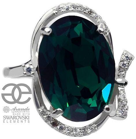 SWAROVSKI zielony pierścionek EMERALD SREBRO