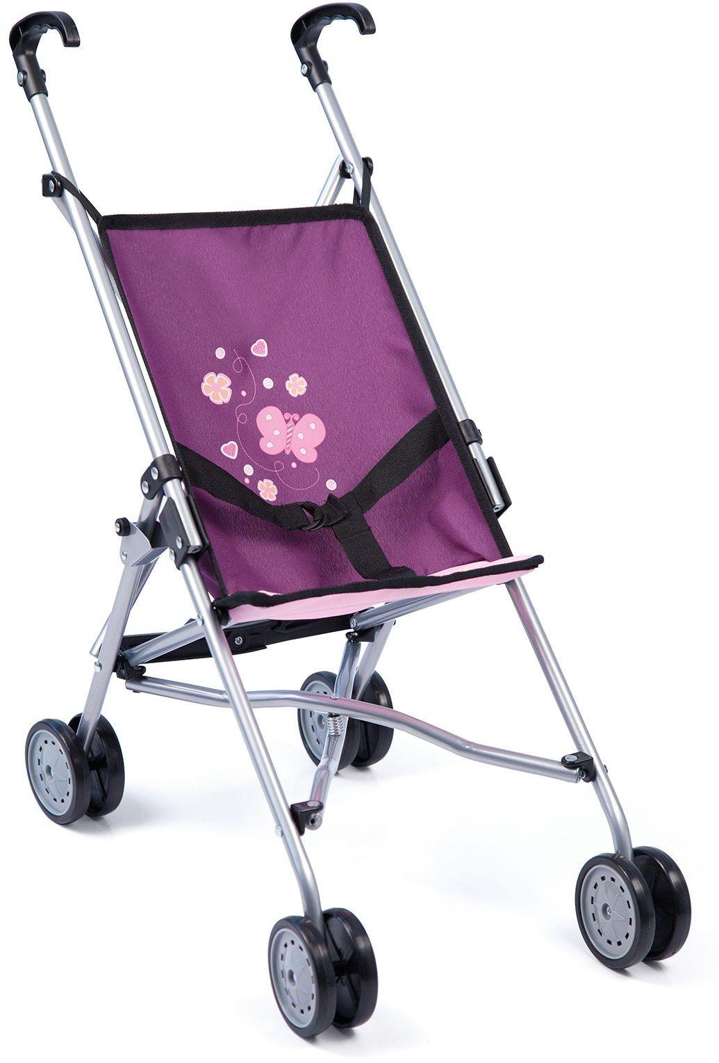 Bayer Design 30157AA wózek dla lalek, wózek na parasol, wózek dla malucha, składany, podwójne koła, stabilny, fioletowy