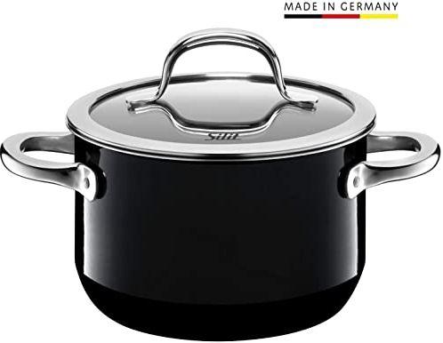 Silit Passion Black garnek do gotowania/mięsa, wysoki, 16 cm, szklana pokrywka, 2,0 l, ceramika funkcyjna Silargan indukcja, czarny