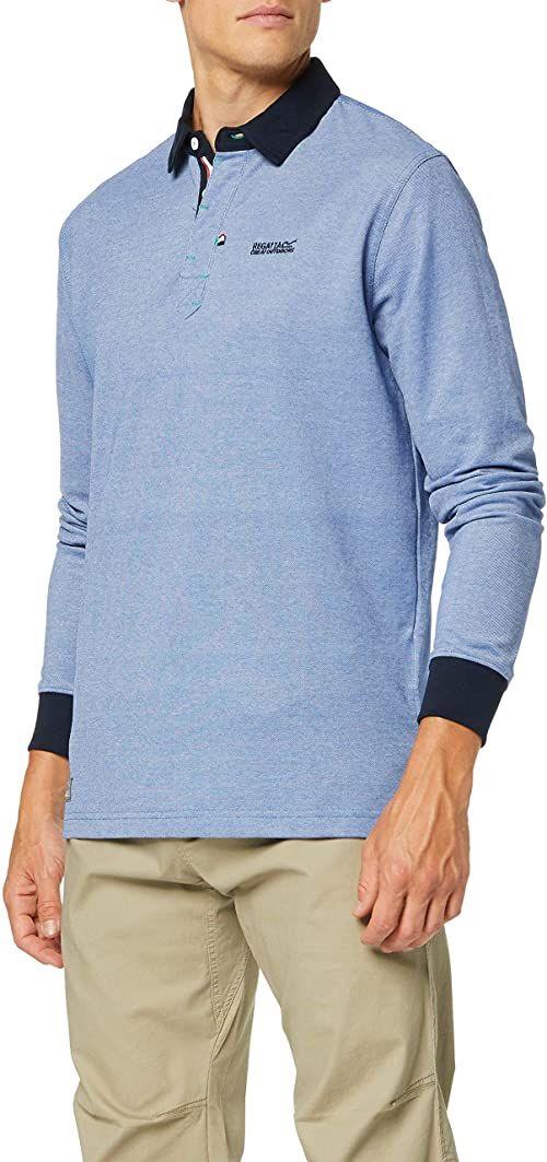 Regatta męska koszulka polo Panos z kołnierzem z guzikami na szyję z długim rękawem Oxford Blue M