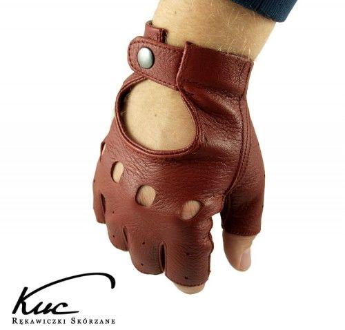 Bordowe rękawiczki bez palców ze skóry jelenia - rękawiczki rowerowe, samochodowe