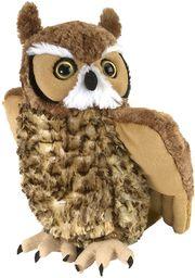Wild Republic Pluszowa miękka zabawka z rogatą sowa, przytulanki zabawki, prezenty dla dzieci 30 cm