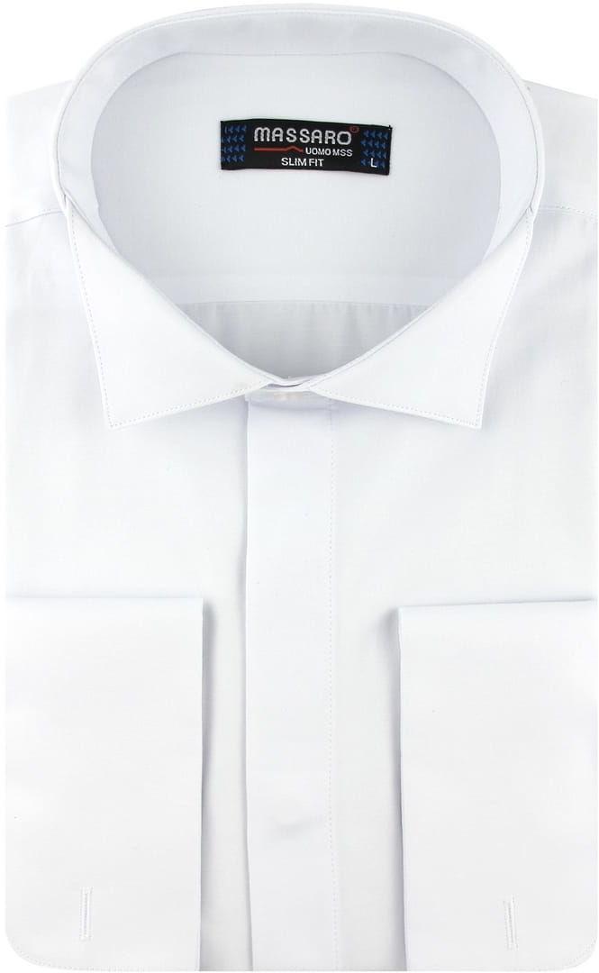 Koszula Męska z kołnierzykiem smokingowym pod muchę Elegancka Wizytowa do garnituru gładka biała z mankietem na spinki w kroju SLIM FIT Massaro B252