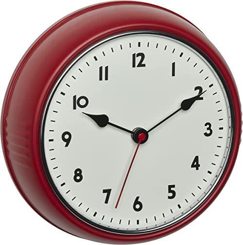 TFA Dostmann Analogowy radiowy zegar ścienny, 60.3541.05, styl retro, ze wskazówką sekundową, z metalu, czerwony