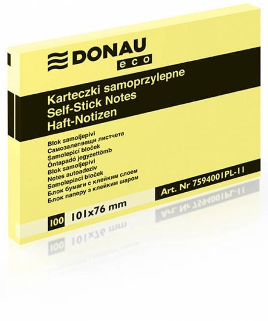 Bloczek DONAU ECO 101 X 76 mm żółty ECO 100 kartek samoprzylepny - X06815