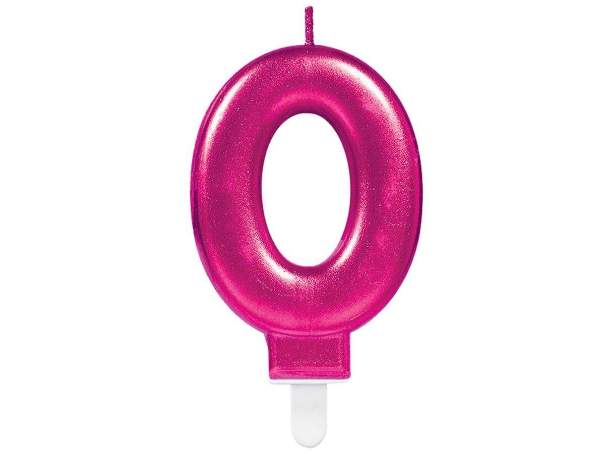 Świeczka cyferka zero 0 różowa - 1 szt.