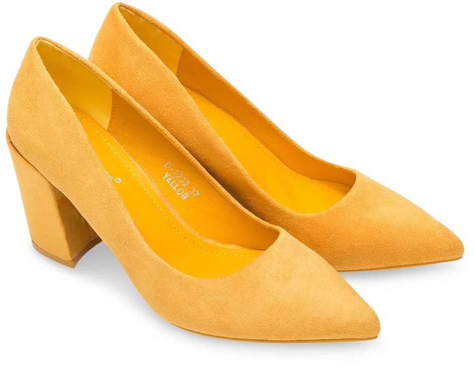 Czółenka damskie Ideal Shoes D-1232 Żółte