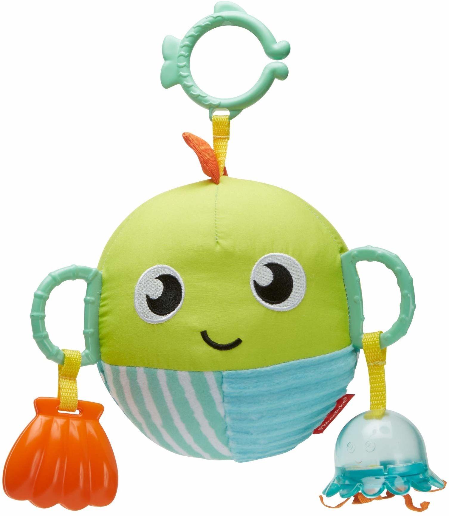 Fisher-Price GFC36 sensoryczna zabawna ryba, pluszowa zabawka dla niemowląt, wielokolorowa