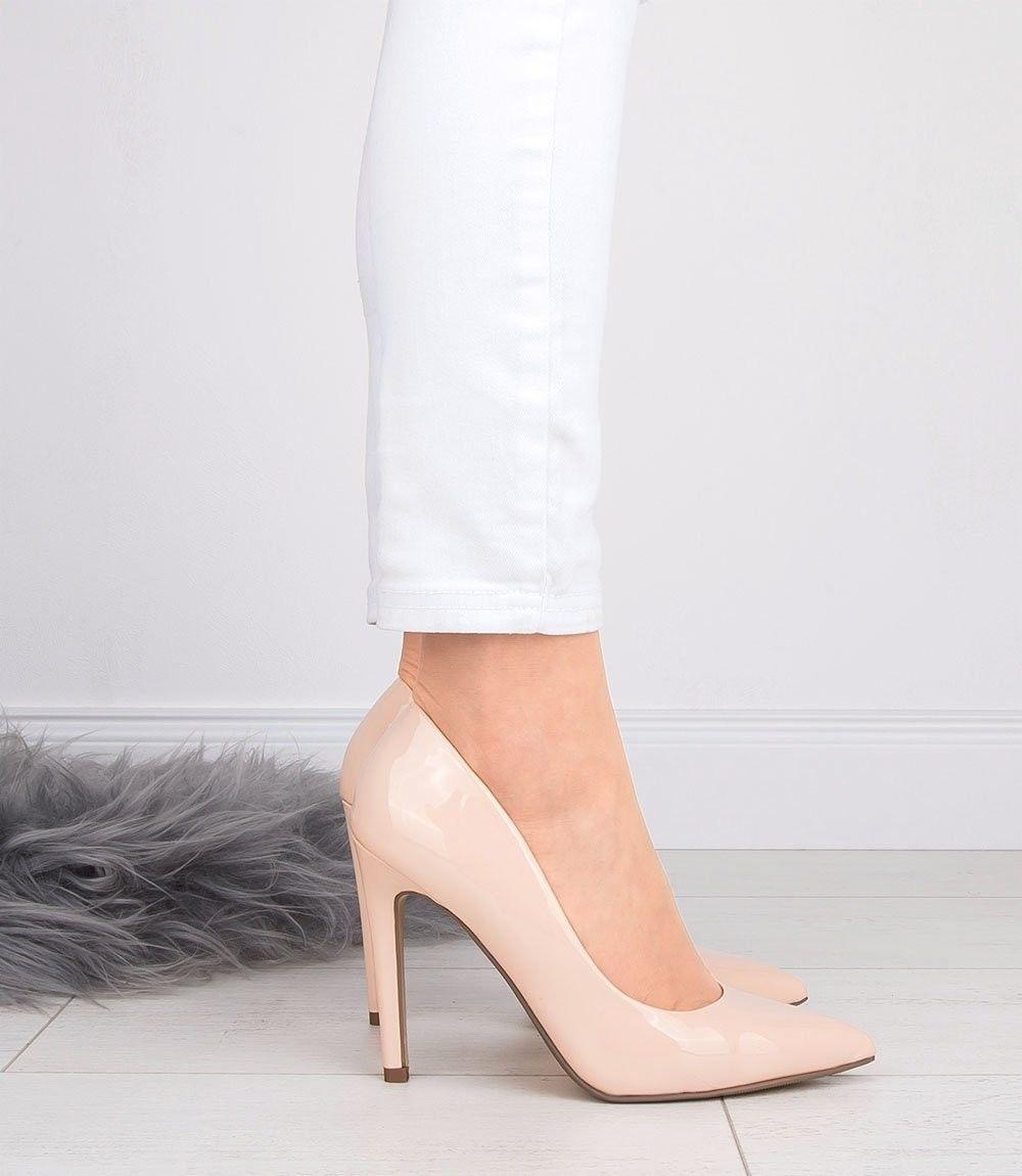 Czółenka damskie Ideal Shoes A-2927-2 Beżowe