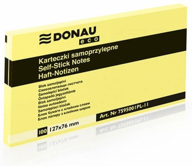 Bloczek DONAU ECO 127 X 76 mm żółty ECO 100 kartek samoprzylepny - X06816