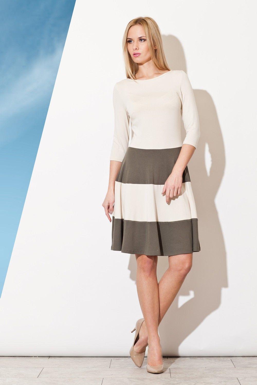 Elegancka sukienka z rękawem 3/4 z kontrastowymi pasami - oliwkowy