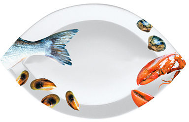 PORCELANOWY TALERZYK DO RYB I OWOCÓW MORZA - OWALNY - Fish - mały