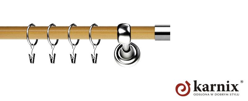 Karnisz Metalowy Prestige pojedynczy 25mm Luna INOX - pinia