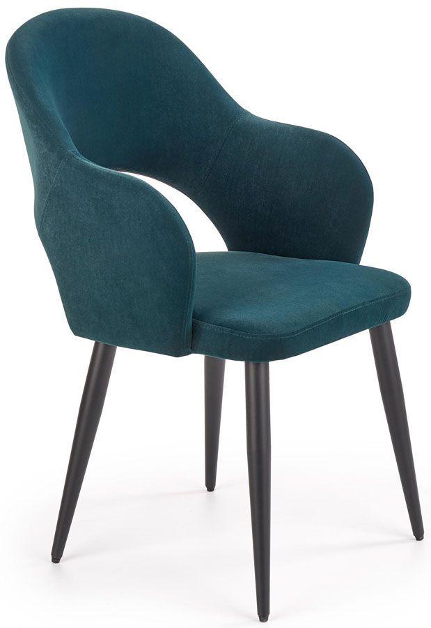 Welurowe krzesło typu ludwik Ofelio - ciemnozielone