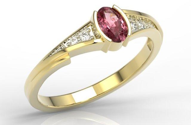 Pierścionek ze złota z rubinem i diamentami jp-2705z-r