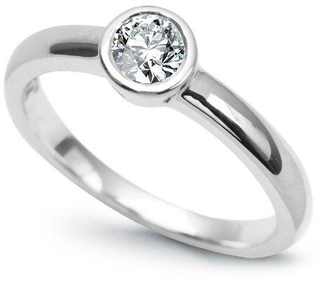 Staviori pierścionek zaręczynowy z diamentem, szlif brylantowy, masa 0,15 ct., barwa h, czystość si1-si2. białe złoto 0,585.