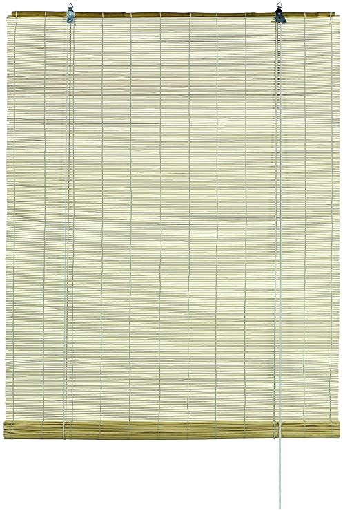 GARDINIA Zasłona bambusowa, naturalna, montaż sufitowy lub ścienny, półprzezroczysta, nieprzezroczysta, wszystkie części montażowe w komplecie, 100 x 160 cm (WxH)