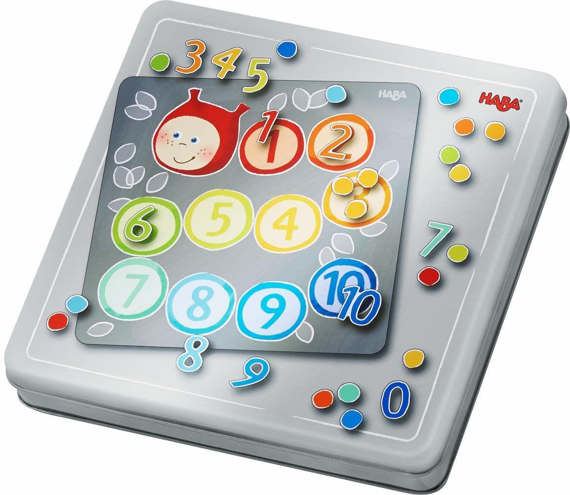 HABA 305050  magnetyczna tablica do gry z liczbami, z 4 zdjęciami tła i wieloma magnetycznymi elementami puzzli, do nauki liczb i ilości, dla dzieci w wieku od 5 lat