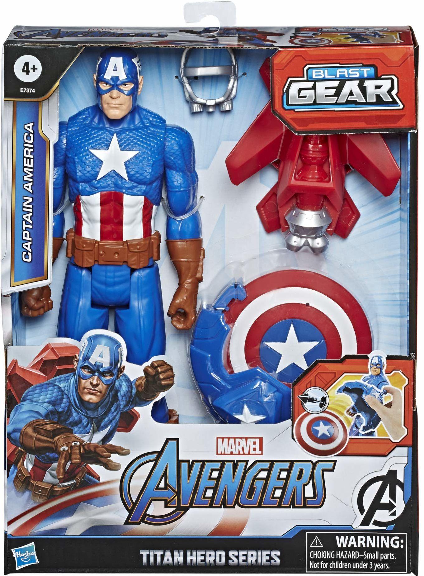 Figurka Kapitana Ameryki z serii Marvel Avengers Titan Hero Blast Gear, 30-centymetrowa zabawka z wyrzutnią, 2 akcesoriami i pociskiem, dla dzieci w wieku od 4 lat