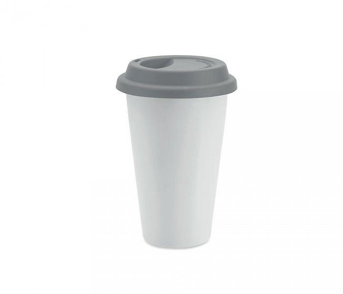 Kubek termiczny ceramiczny TUMBI 350 ml (biały/szary)