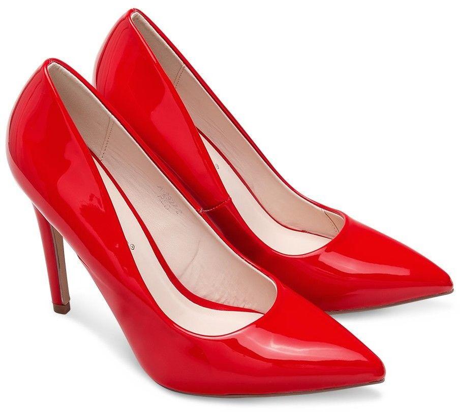 Czółenka damskie Ideal Shoes A-2927-2 Czerwone
