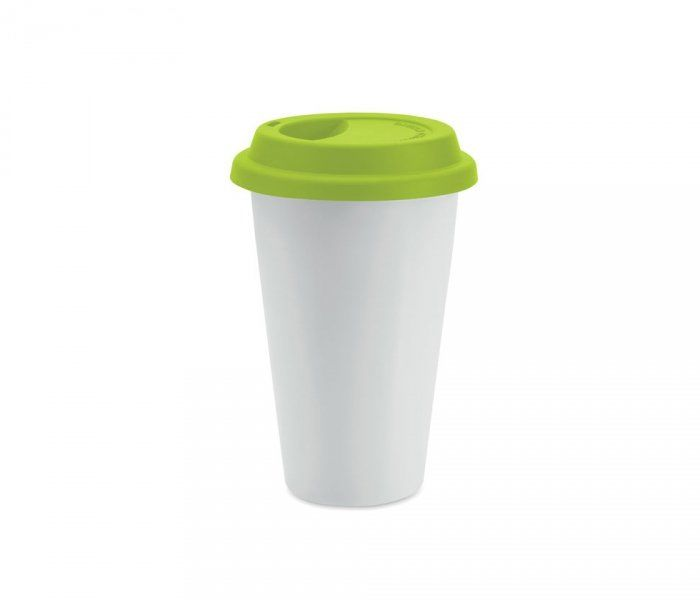 Kubek termiczny ceramiczny TUMBI 350 ml (biały/zielony)
