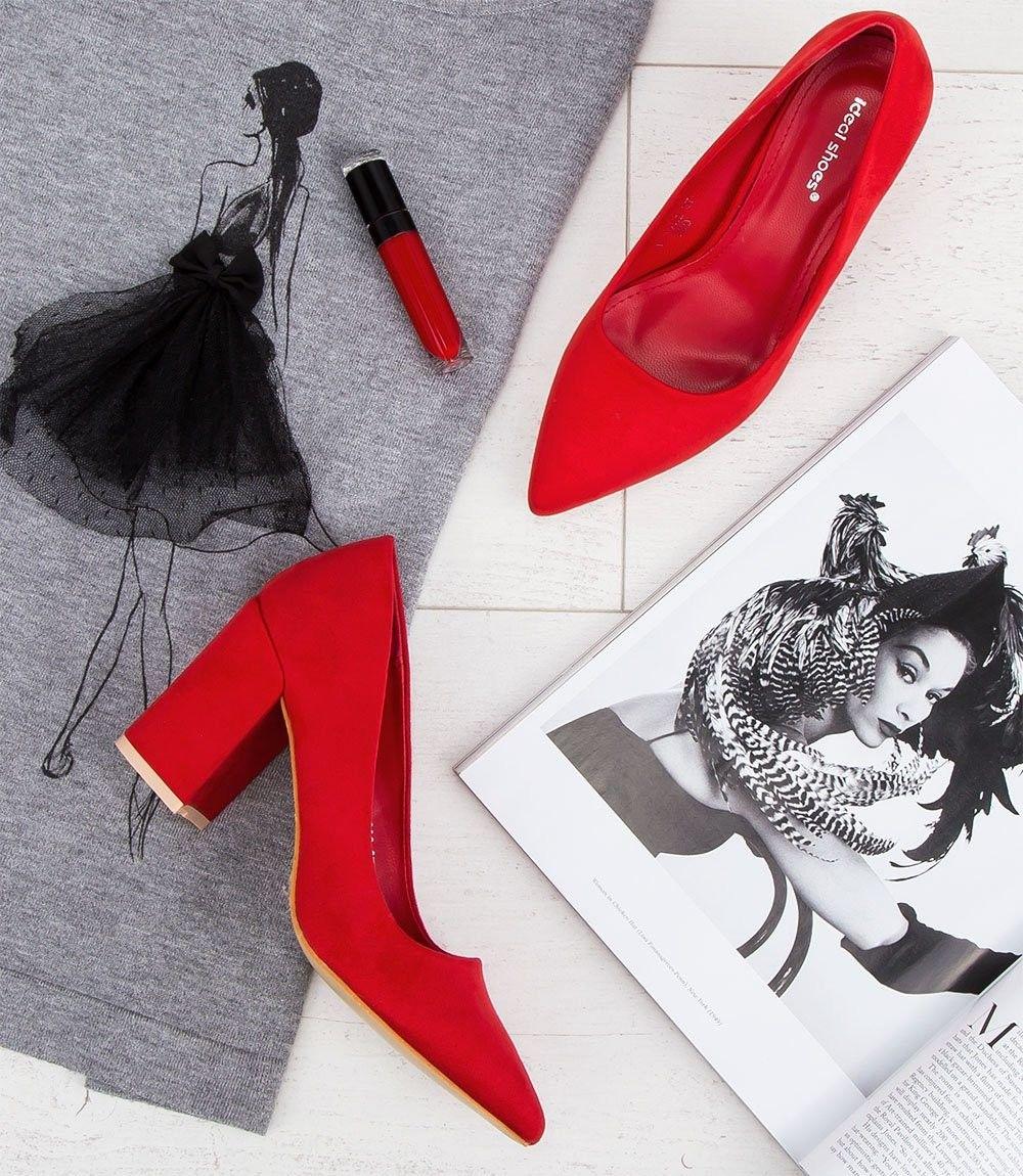 Czółenka damskie Ideal Shoes D-1232 Czerwone