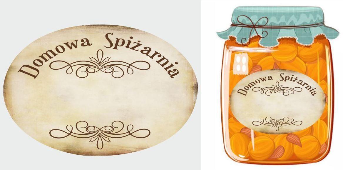 Etykiety Domowa Spiżarnia beżowe vintage