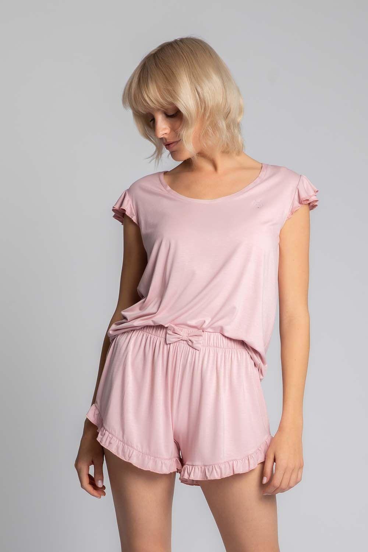 Koszulka top do spania z falbankami - różowa