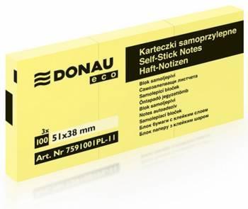 Bloczek DONAU ECO 51 X 38 mm żółty ECO 3 sztuki po 100 kartek samoprzylepny - X06817