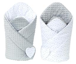 MAMO-TATO Rożek niemowlęcy dwustronny minky Mini gwiazdki szare na bieli / jasny szary