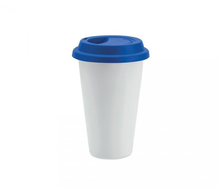 Kubek termiczny ceramiczny TUMBI 350 ml (biały/niebieski)