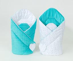 MAMO-TATO Rożek niemowlęcy dwustronny minky Mini gwiazdki szare na bieli / turkus
