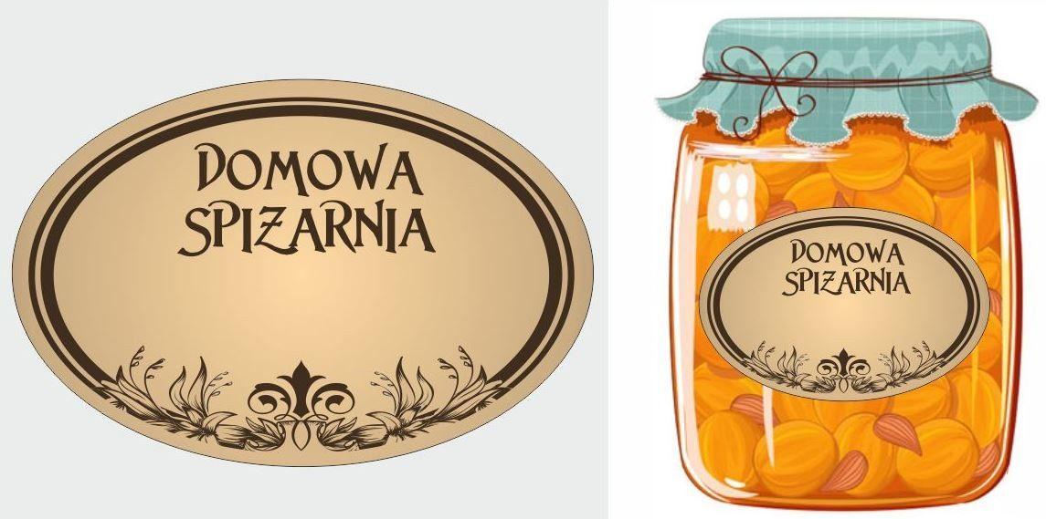 Etykiety Domowa spiżarnia brązowe owalne