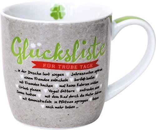 Happy Life 45733 filiżanka do cappuccino, lista szczęścia, porcelana, 40 cl, z banderolą prezentową, wielokolorowa