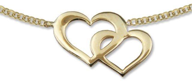 Naszyjnik ze złota - celebrytka z dwoma sercami - model 19