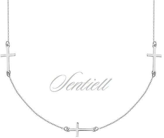 Srebrny naszyjnik pr.925 z krzyżykiem, pozłacany - rodowanie